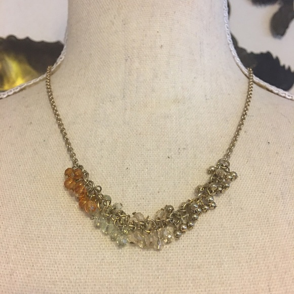 Coldwater Creek gold tone dangle bead necklace